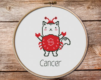 Cancer-crab zodiac sign, Cancer Cross Stitch, cute zodiac cross stitch, kawaii crab, cute cross stitch, kawaii cat cross stitch, cancer