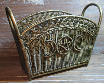 Pagan Goddess Wicker Rattan Magazine Newspaper Rack, Wiccan, Aged Gold
