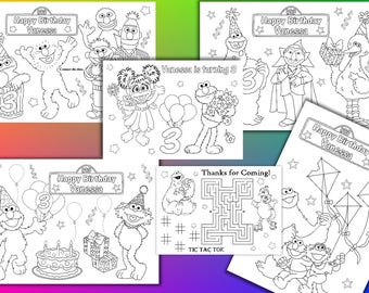 Sesame Street Birthday Party Personalized coloring pages, activity, PDF file