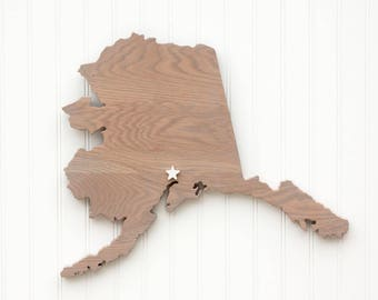 """Alaska state shape wood cutout sign wall art with star or heart. Repurposed Oak flooring 17x21"""". Wedding Cabin Rustic Country Decor"""