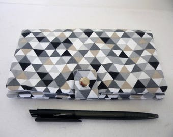 Woman black white grey geometric checkbook cover