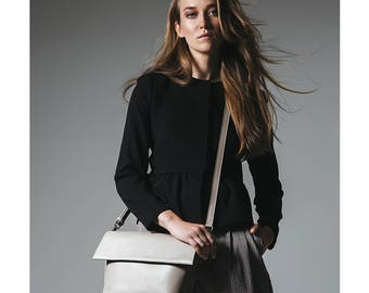 SALE - Beige crossbody bag, womans bag, choulder bag, leather bag