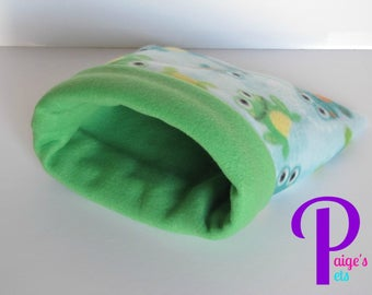 Fleece Snuggle Sack, Cuddle Sack, Cozy Sack, Guinea Pig Snuggle Sack, Hedgehog Snuggle Sack | Little Green Frog with Green