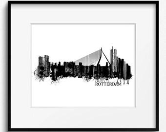 Rotterdam Skyline Watercolor, Black and White Art Print (835) Rotterdam Cityscape, Rotterdam Watercolor Art Print, Holland Art Print
