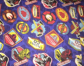 Fire and Rescue Fabric for Crafting and Sewing; Soft Cotton Feel;