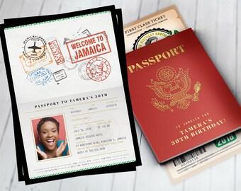 PASSPORT and TICKET birthday invitation, travel birthday party invitation, cruise invitation, Jamaica, Digital files only