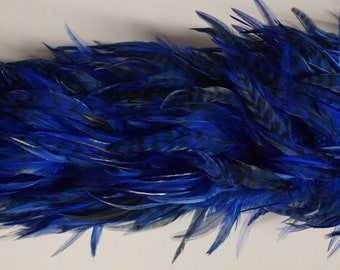 """2 yards SADDLE BOA Royal Blue 4-6"""" Feathers"""
