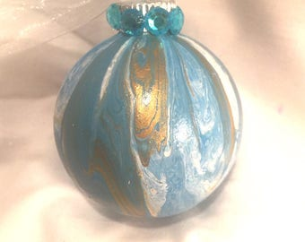Turquoise Blue Gold & White Acrylic Pour Swirl Hand Painted Glass Christmas Ornament Rhinestones Ribbon, One of a Kind, Gift Under 10