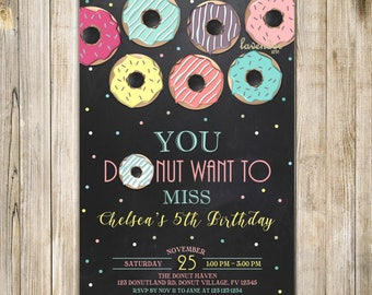 CHALKBOARD DONUT Birthday Invitation, Teal Pink Yellow Donuts Birthday Invite, Girl 5th Birthday, Doughnut Party, Donut Want to Miss