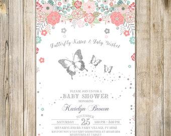 BUTTERFLY BABY SHOWER Invitation, Floral Baby Sprinkle Invite, Floral Butterflies Shower Invites, Baby Girl, Garden Shower Brunch, Flowers