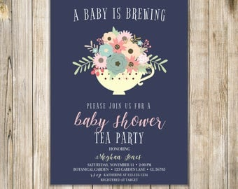 A BABY IS BREWING Party Invitation, Floral Baby Shower Tea Invite, Coffee for Two Invites, Coffee Shower, Sip N See High Tea, Meet and Greet