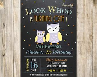 CHALKBOARD OWL 1st BIRTHDAY Invitation, Owl Birthday Invite, Girls Birthday, Look Whoo, Owl First Birthday Party, Mint Orange Yellow LA28