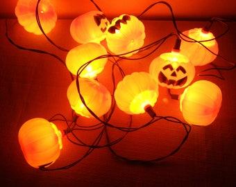 Vintage Halloween Pumpkin String Lights Jack O Lanterns