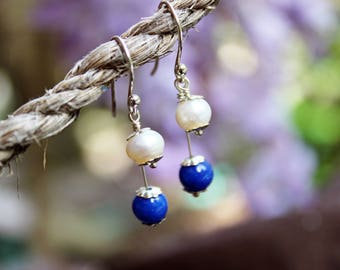 Freshwater Pearl and Lapis Lazuli Tiered Drop Earrings with Sterling Silver Accents and Earwires - White Round Pearl , Blue Lapis , Elegant