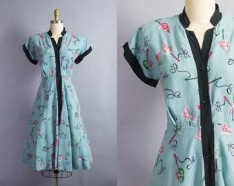 1940s Novelty Print Dress/ Medium (40B/30w)