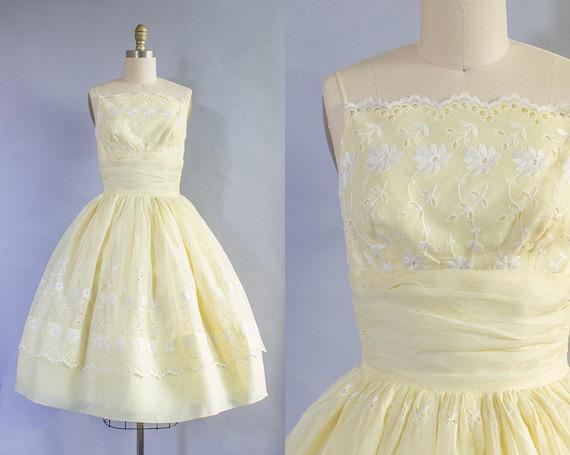 1950s Yellow Cotton Sundress/ XS (32B/24W)
