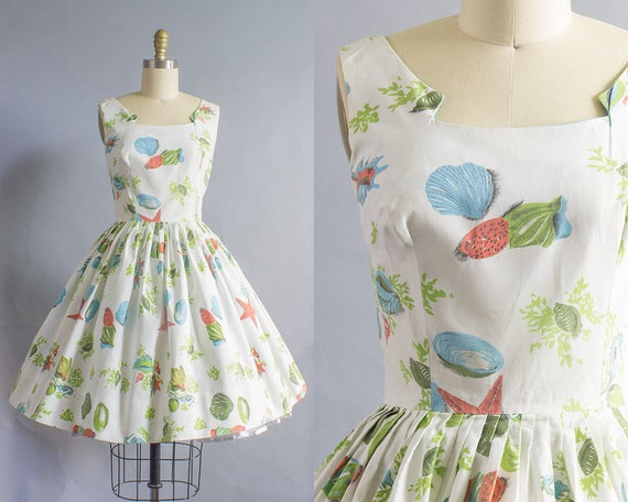 1950s Aquatic Print Cotton Dress/ Extra Small (34B/24W)