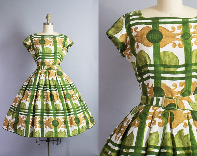 1950s Novelty Abstract Floral Dress/ Medium (38B/27W)