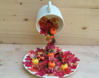 Fall Decor, Centerpiece, Autumn, Pumpkins, Floating Cup, Topiary, Halloween, Vintage Cup, Fall Leaves, Orange, Yellow, Red, Fall Centerpiece