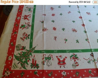 """3 Day SALE Vintage Christmas & New Year's Tablecloth~49 x 62"""" Snowmen Stocking Santa Claus"""