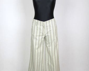 Vintage 1990's 90's  Pants Strips Bell Bottom  Flares  Trousers Pants Size S
