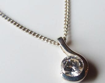 10% SALE - Vintage 925 Sterling Silver Cubic Zirconia Necklace