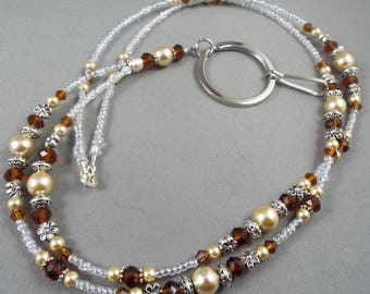 "Beaded breakaway lanyard brown and beige glass pearls and crystal 32"" to 46""  ID badge holder with magnetic or toggle clasp  ,unique fashion"