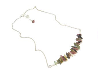 Raw stone necklace and 925 Silver - multicolor Tourmaline