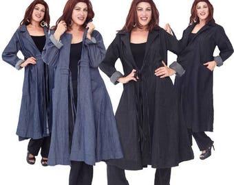 15% OFF SALE P157 Jacket Coat Shirt Waist Pockets Pleats Denim Fine Fashion Couture Made To Order s m l xl 1x 2x 3x 4x 5x 6x Choose your Col