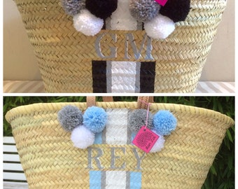 MONOGRAM Stripe POMPOM  BASKETS , 6  Pom Poms, Choose your Pom pom colours, Personalise with initials for free,