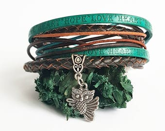 Brown leather wrap bracelet for women, charm bracelet, turquoise boho bracelet, stack bracelet, hipster bracelet, cow leather bracelet.
