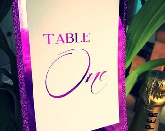 Stunning Handmade Ultra Violet table numbers 1-7glitter & foil 7x5 inches