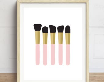 Makeup Brushes Print, Makeup Print, Bathroom Art, Fashion Wall Art, Gift for Aesthetician, Makeup Artist Gift