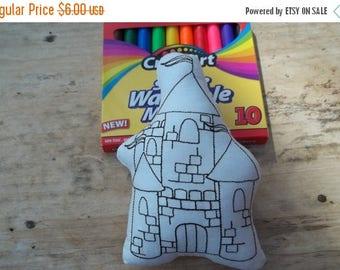 On sale Princess Castle  Coloring Stuffie : Coloring . Plushie .Washable . Reusable . Party Favor