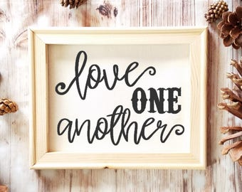 Love One Another Canvas John 13:34 - Wedding Gift - Bridal Shower Gift - Bride Gift - Aniinversary Gift - Girlfriend Gift - Wife Gift