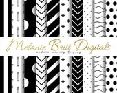 MINIMALIST paper, black and white, arrow paper, dot paper, stripe paper, chevron paper, digital paper pack, printable pdf, INSTANT DOWNLOAD