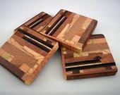 "End Grain Wooden Coasters Set of 4 ~ Handmade Wood Coaster Set ~ Natural Wood Coasters ~ Wood Trivet ~ 3-3/4"" square drink coaster"