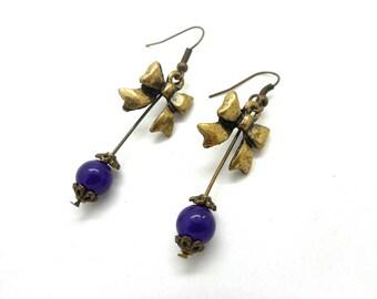 Purple beads bronze bow earrings