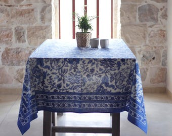 Square Tablecloth, Floral Tablecloth, Blue Tablecloth, Tablecloth Square,  Cotton Tablecloth, Rustic