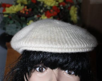 Knit Hat or Cap, Beige, Lined Design w X on top of the Hat, Made by Aris, One Size Fits All