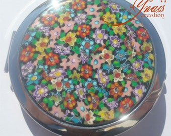 Pocket mirror round millefiori polymer clay