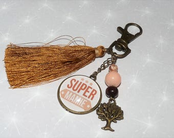 Jewelry bag Keychain SUPER Grandma Brown/camel/bronze tones with tassel and beads