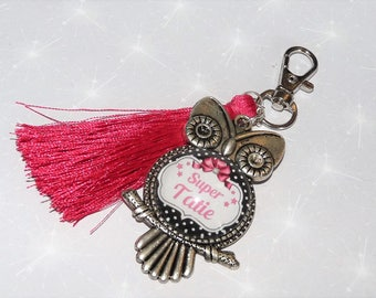 Jewelry bag/Keychain great Auntie shades pink and silver backed OWL and fuschia tassel
