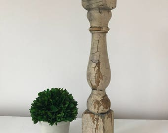 Antique Baluster (1870s), Aged-White- small green specks of paint, Farmhouse Design, Candle Holder