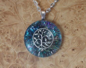 Rainbow Tree of Life Nature Spirit Soul-Antennas Crystal Orgone Energy Pendant Necklace 25mm Abundance Creativity Growth Miracles Alchemy