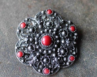 Old Balkan filigree brooch with Corals