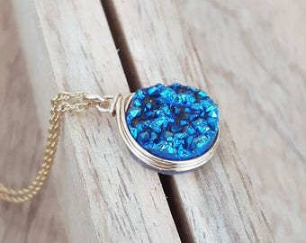 Druzy Pendant Necklace/Genuine Druzy/Blue Druzy Jewelry/Layering Necklace /Bridesmaids Jewlery/ Free Shipping Canada