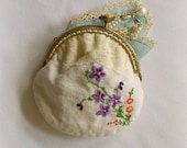 Vintage Coin Purse, UpCycled Vintage Linen, Wedding Purse, Ring Bearer, Jewelry Holder, Gifts for Women, Embroidered Flowers, Shabby Chic