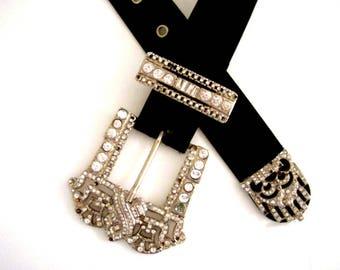 Vintage 90s Black Satin and Rhinestone Belt by ESCADA - 1990s Designer Belt - Avant Garde Escada Belt with Large Rhinestone Buckle