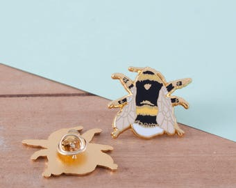 British Bee Enamel Pin | Pin Badge | Hard Enamel Pin | Gold Enamel Pin | Bee Pin | Bumble Bee | British Bees | Bee Badge | British Wildlife